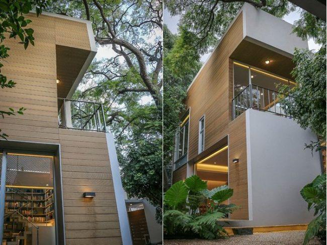 façade grise avec bois