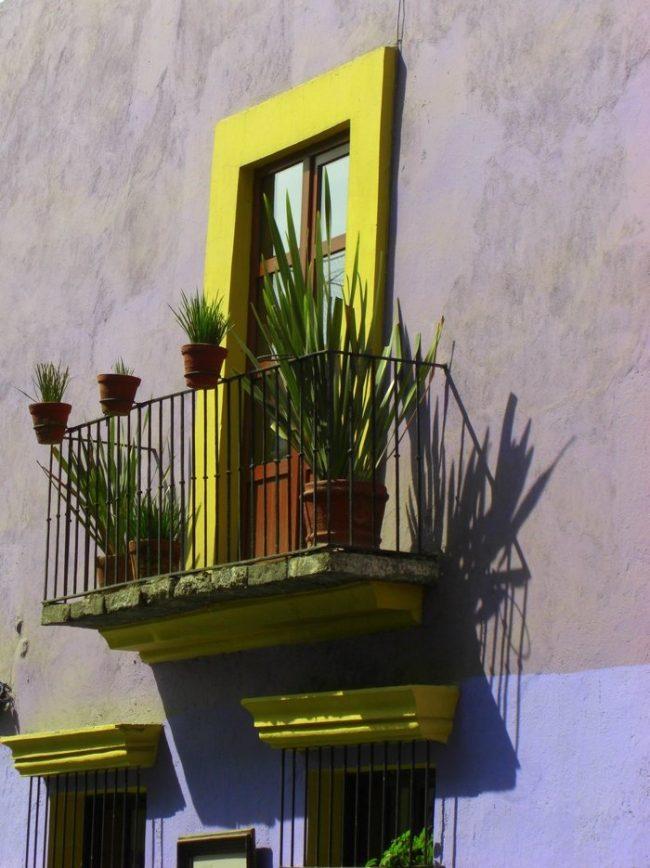 Murs de ciment gris avec des détails de couleur néon, tels que jaune et lilas