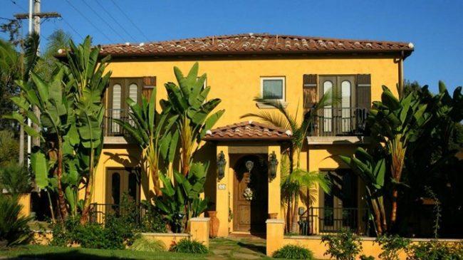 maison aux murs jaunes intenses et aux oliveraies