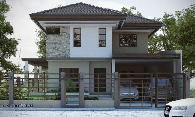 maison en grilles blanches et grises de gris foncé