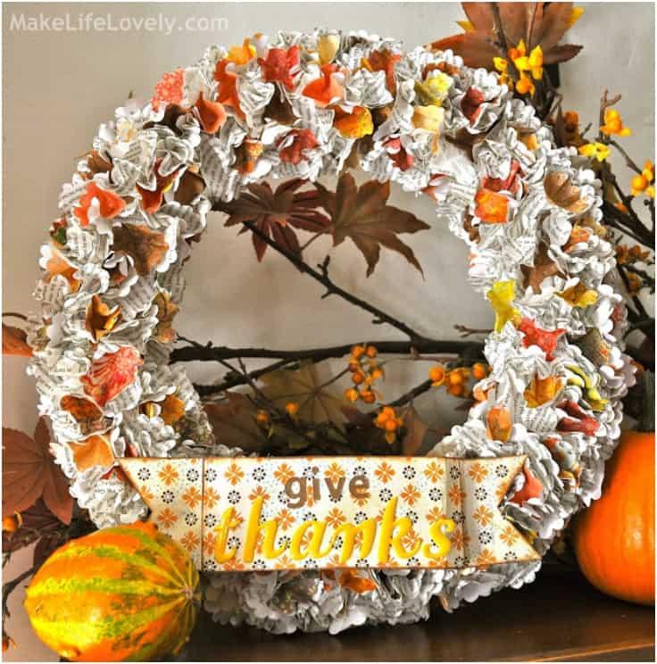 Guirlande de Thanksgiving fleurs en papier bon marché et facile