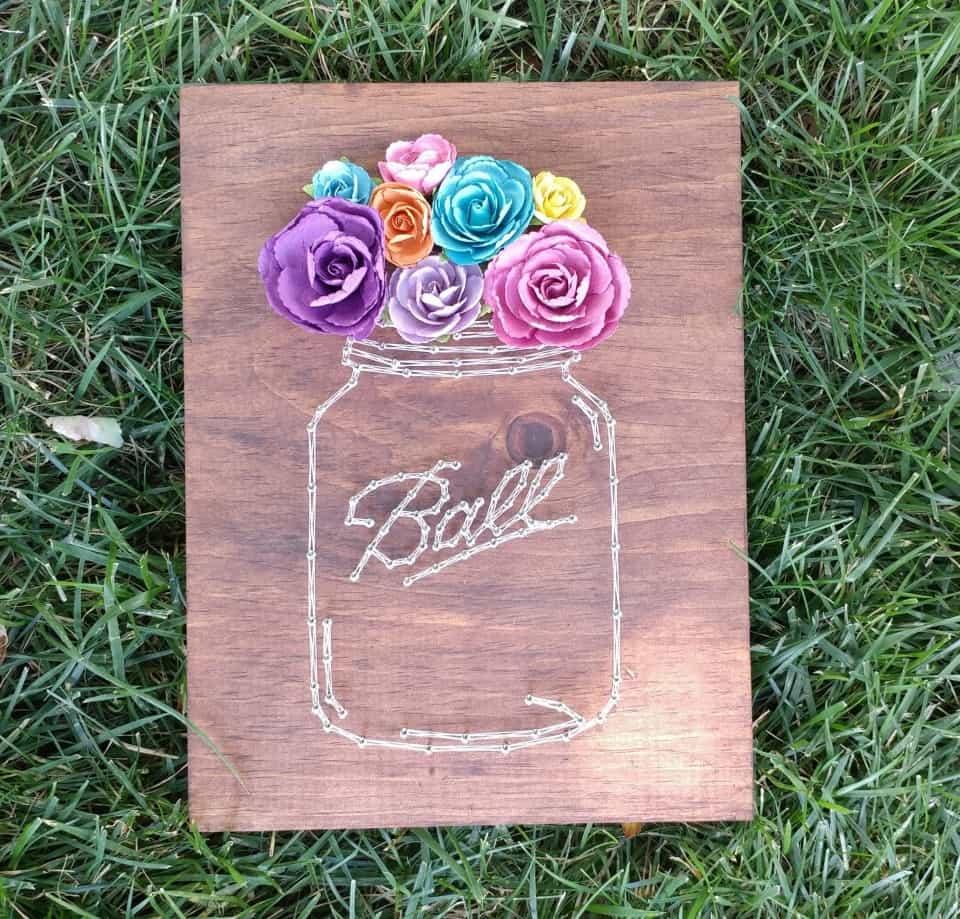 Diy string bocal et art de la fleur