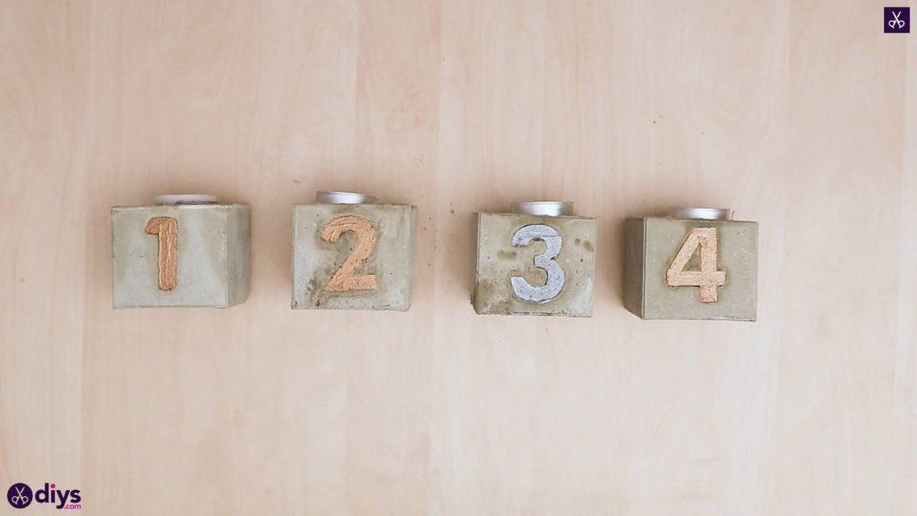 Bougeoirs en béton de l'Avent artisanat simple