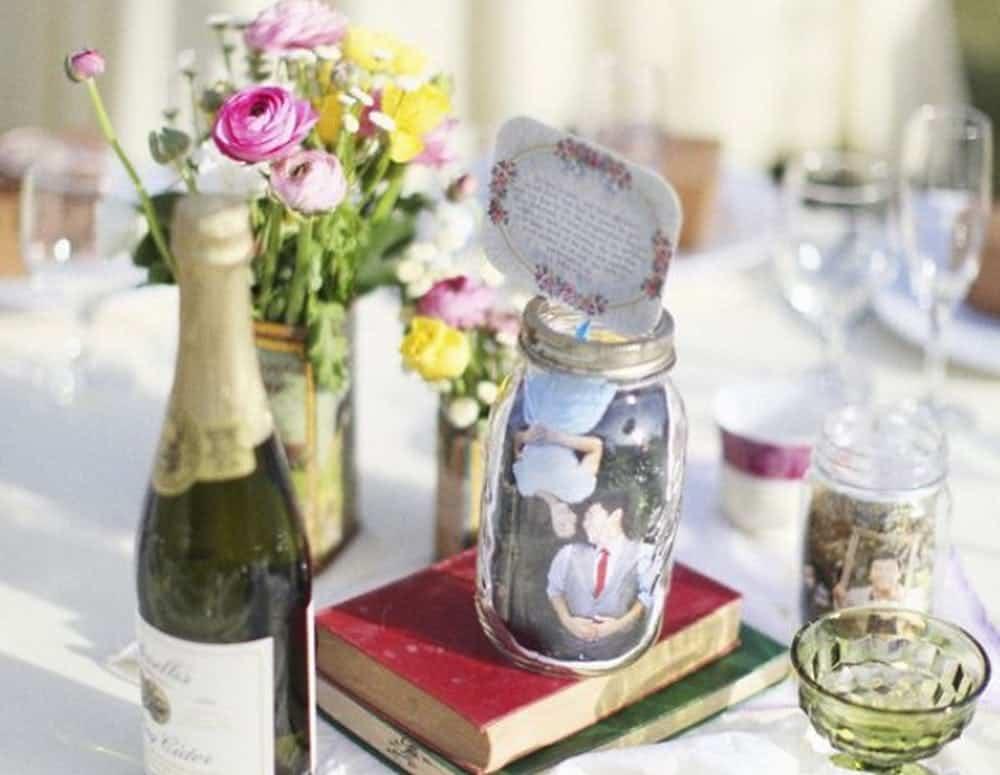 Photo bricolage mariage bocal à conserves