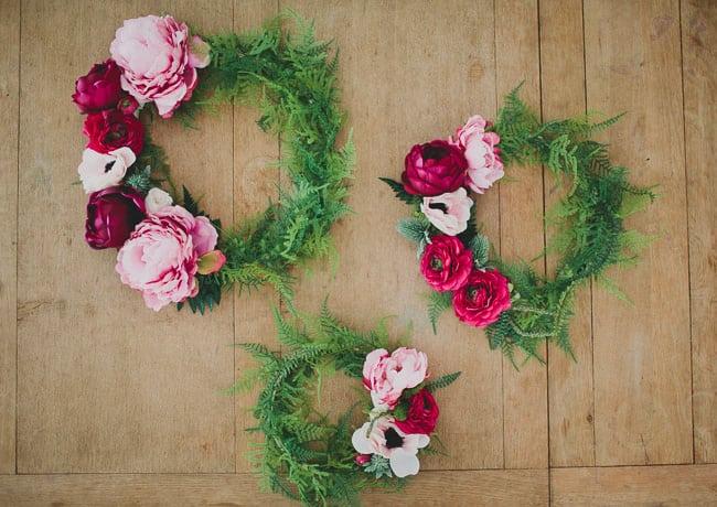 Couronnes florales en soie bricolage