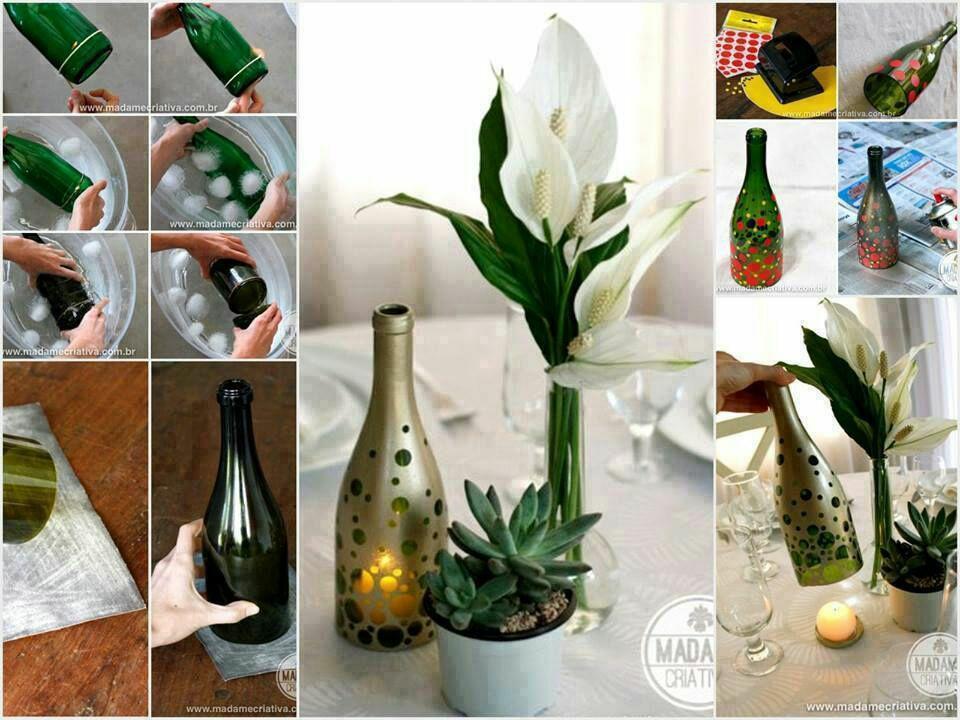 bougies avec des bouteilles de verre