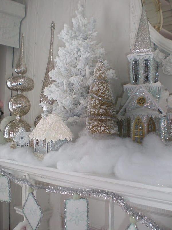 Manteau de Noël vintage blanc étincelant