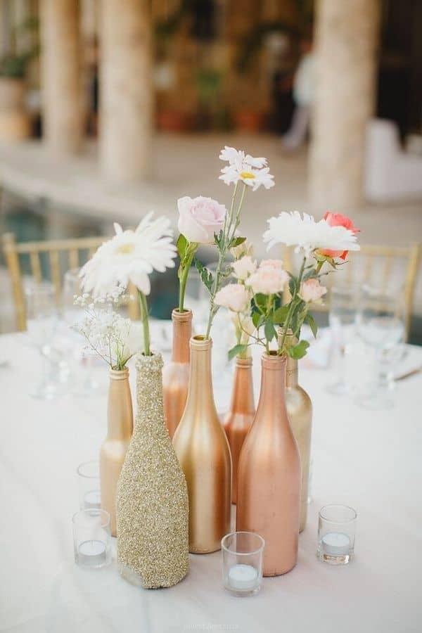 Pièce maîtresse de bouteille de vin en or rose bricolage
