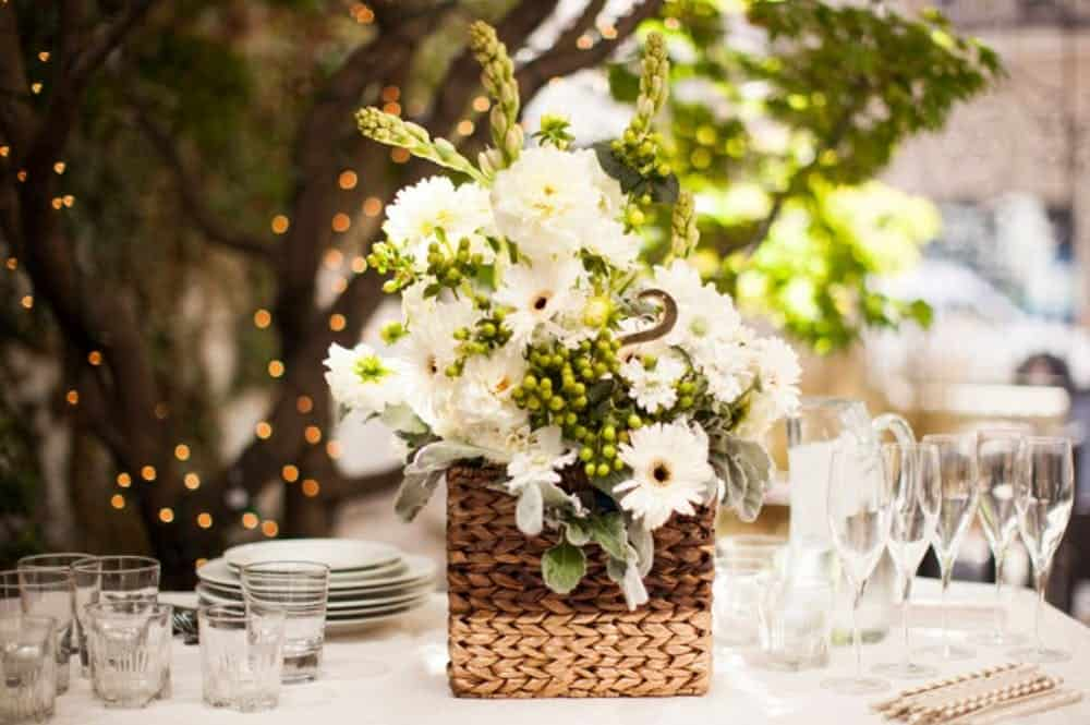 Bricolage centerpice panier de fleurs