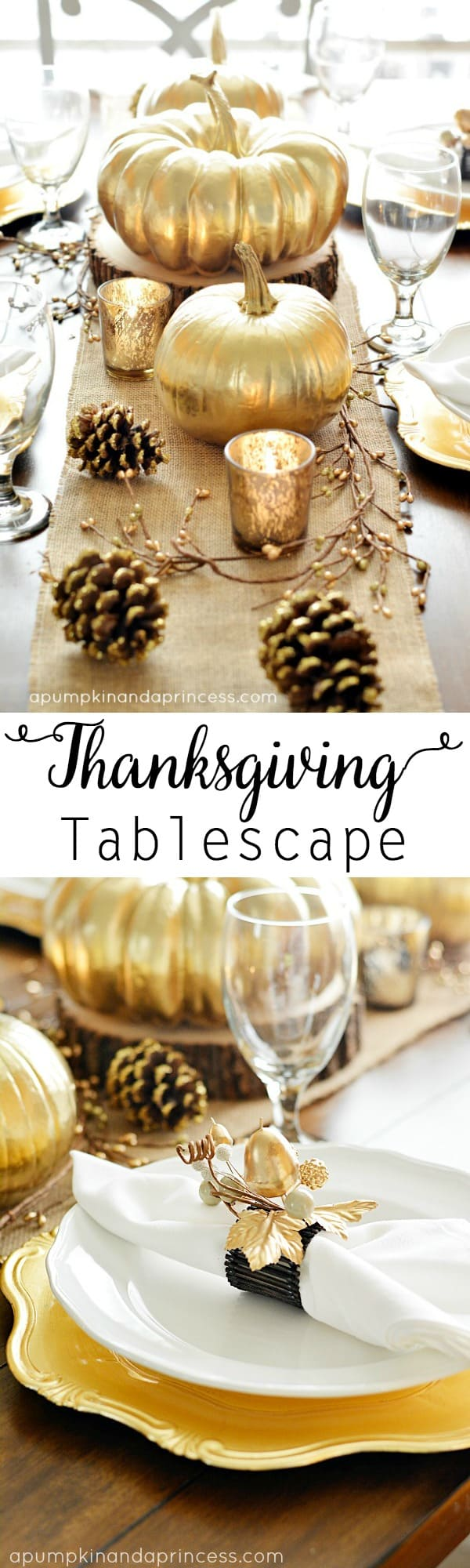 Paysage de table de Thanksgiving en or peint
