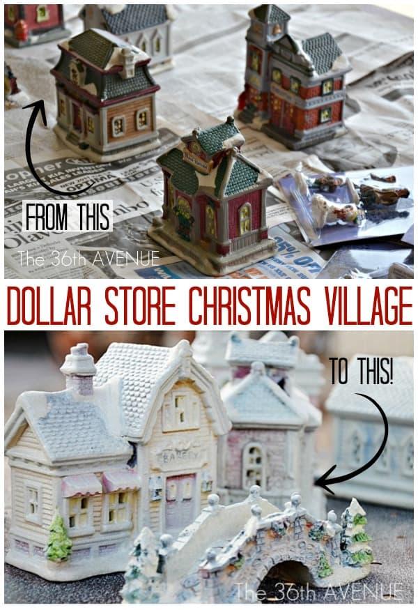 Village de Noël de magasin de dollar