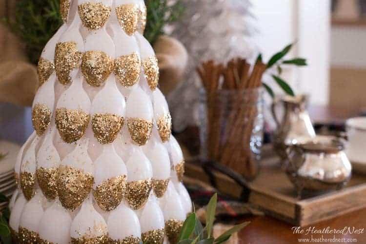Arbre de Noël cuillère en plastique scintillant