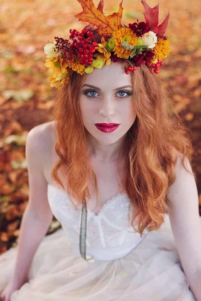Couronne de fleurs d'automne au pays des merveilles