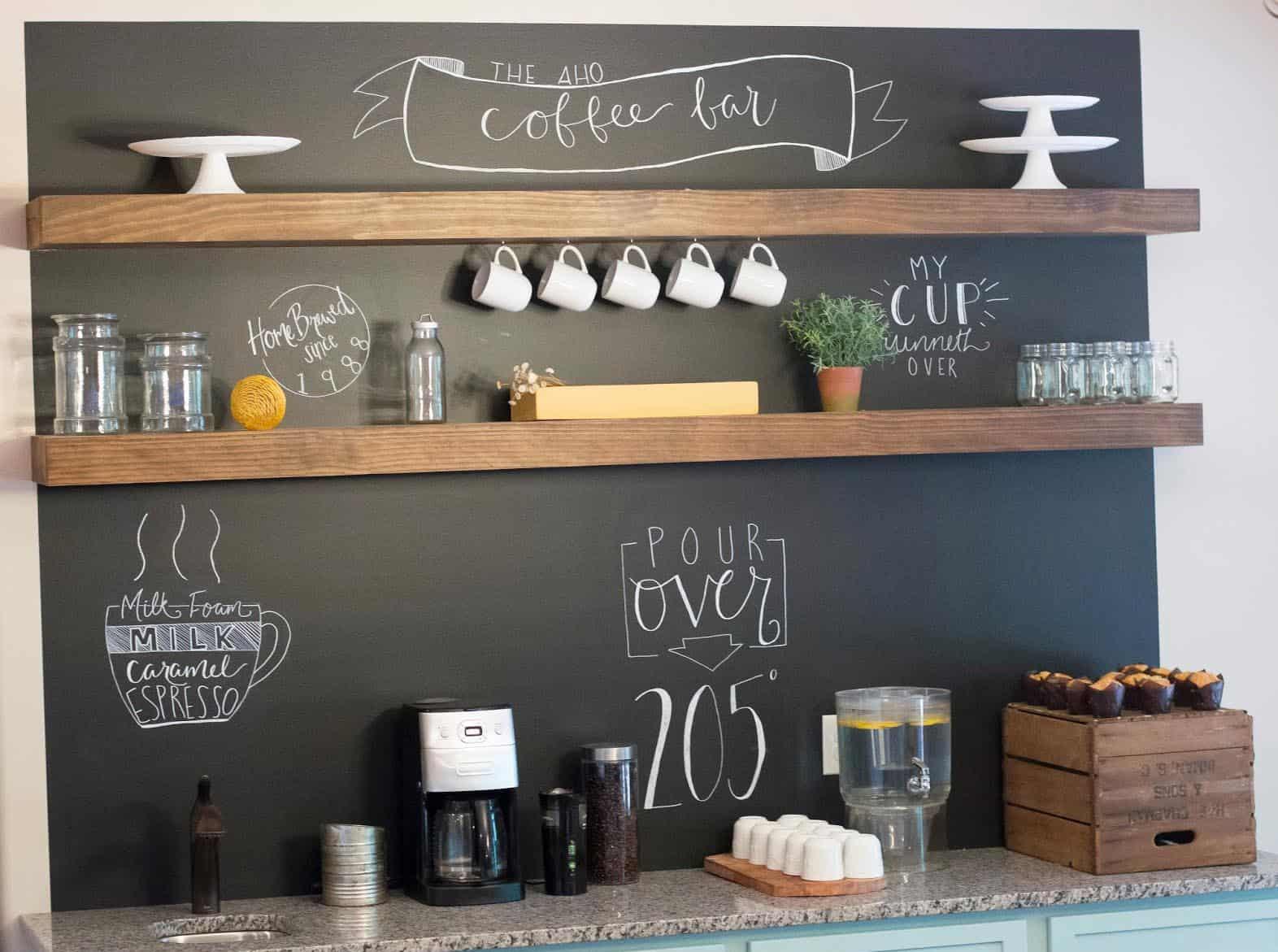 Tableau au café à la maison