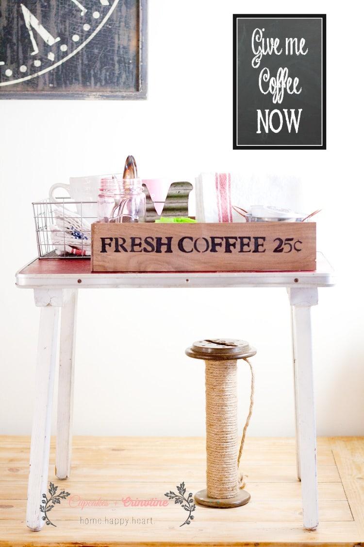 Station de café vintage à la maison