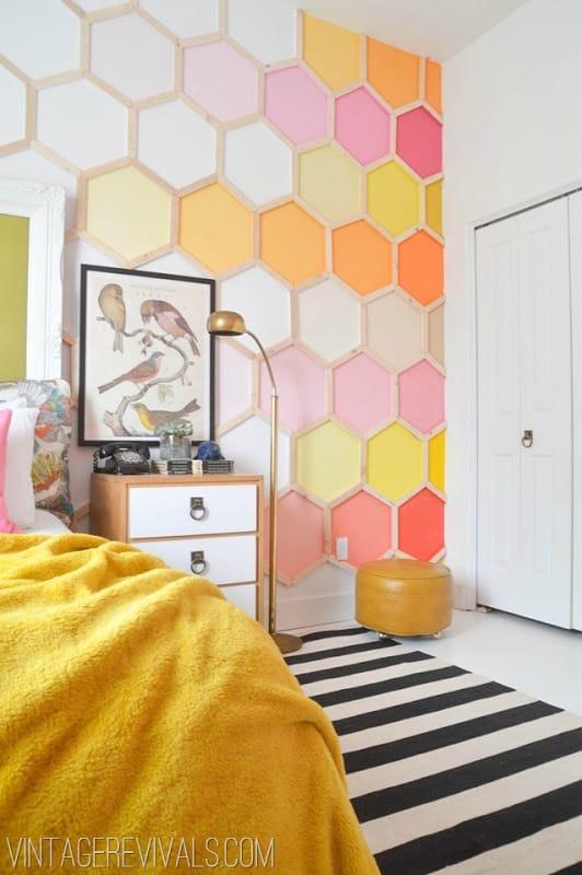 Mur d'hexagones à dégradé de couleur