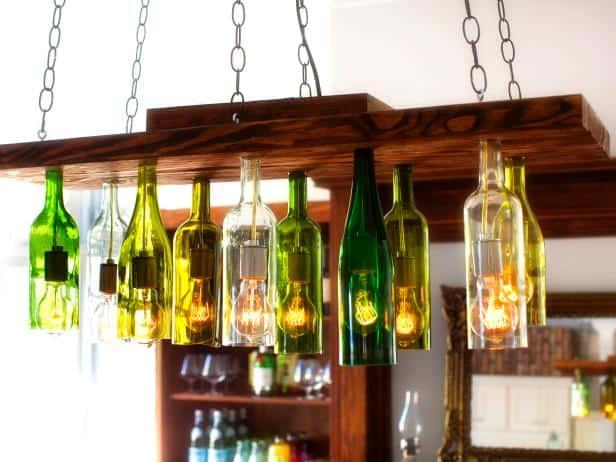 Lustre de cuisine en bois et vin