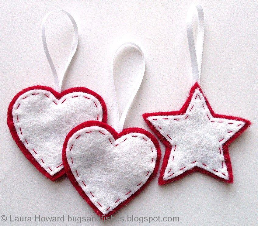 Ornamente în star și inimă în pâslă