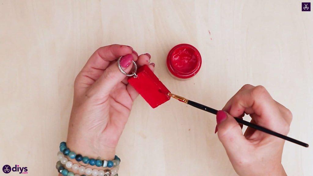 Porte-clés en béton lego block avec peinture