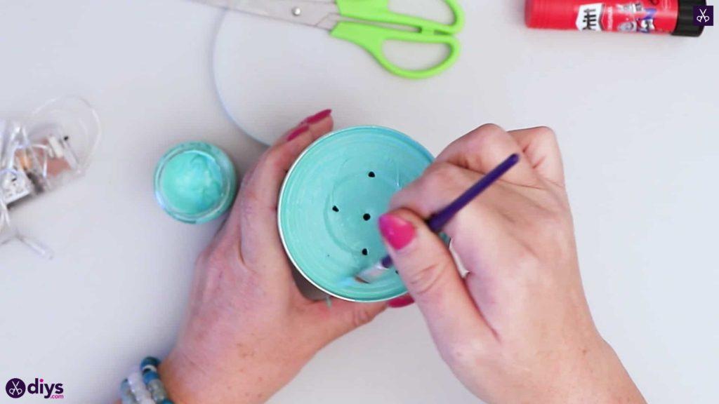Lampe d'ambiance boîte métal peinture turquoise