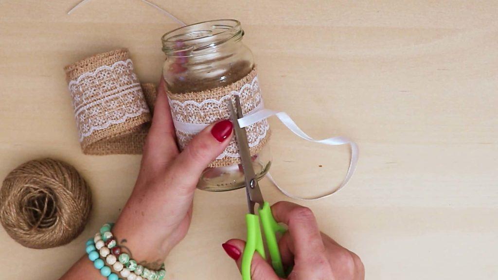 Bricolage vintage Mason Jar Craft Ruban Noeud