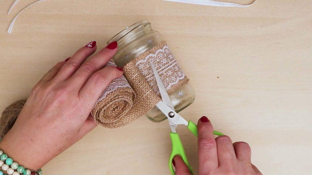 Bricolage Vintage Mason Jar Craft Wrap Toile De Jute