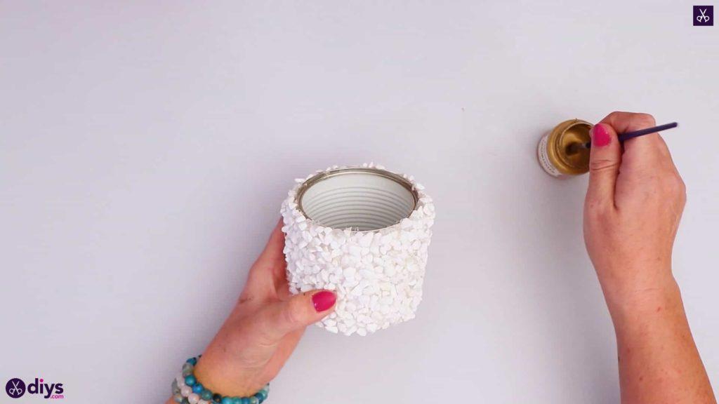Support de boîte de conserve décoré de pierre ajouter de la peinture