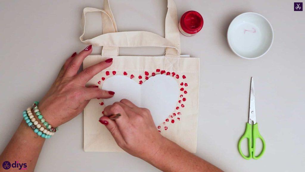 Sac cabas bricolage coeur rouge pour valentines