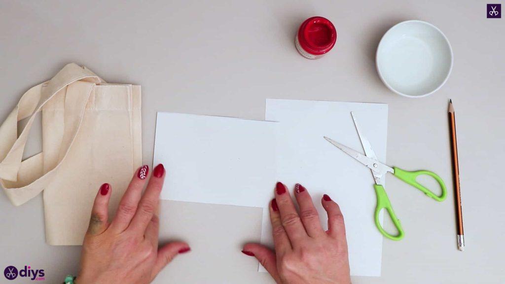 Sac fourre-tout coeur bricolage papier blanc moitié