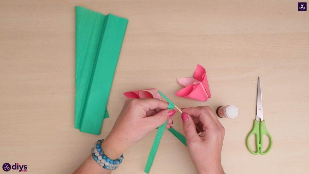 Bricolage papier 3d fleur papier vert