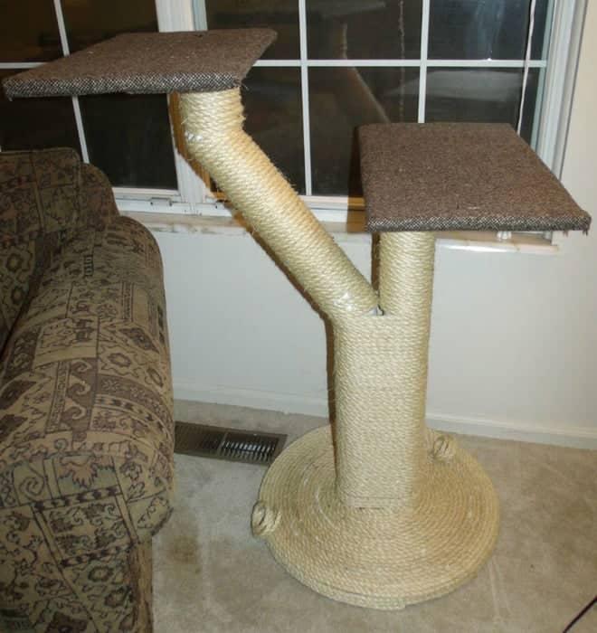 Arbre à chat en corde de sisal à deux plates-formes simples