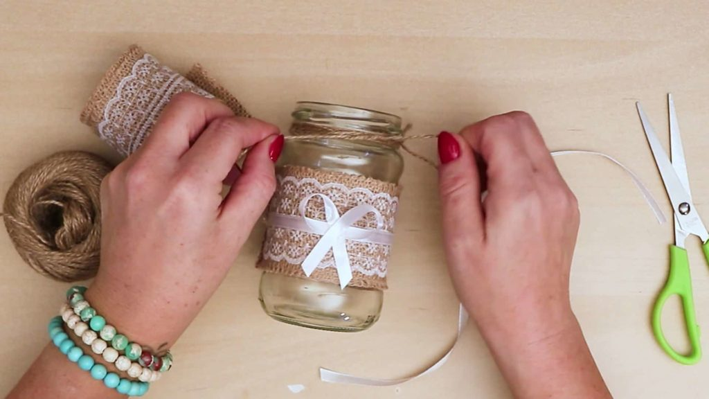 Bricolage vintage Mason Jar Craft Add String