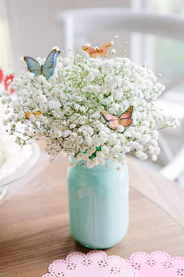 Bouquet de papillon en pot peint Mason
