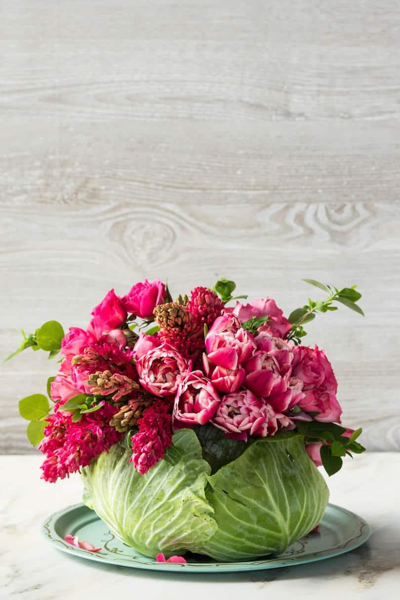 Centre de table bricolage fleur de chou