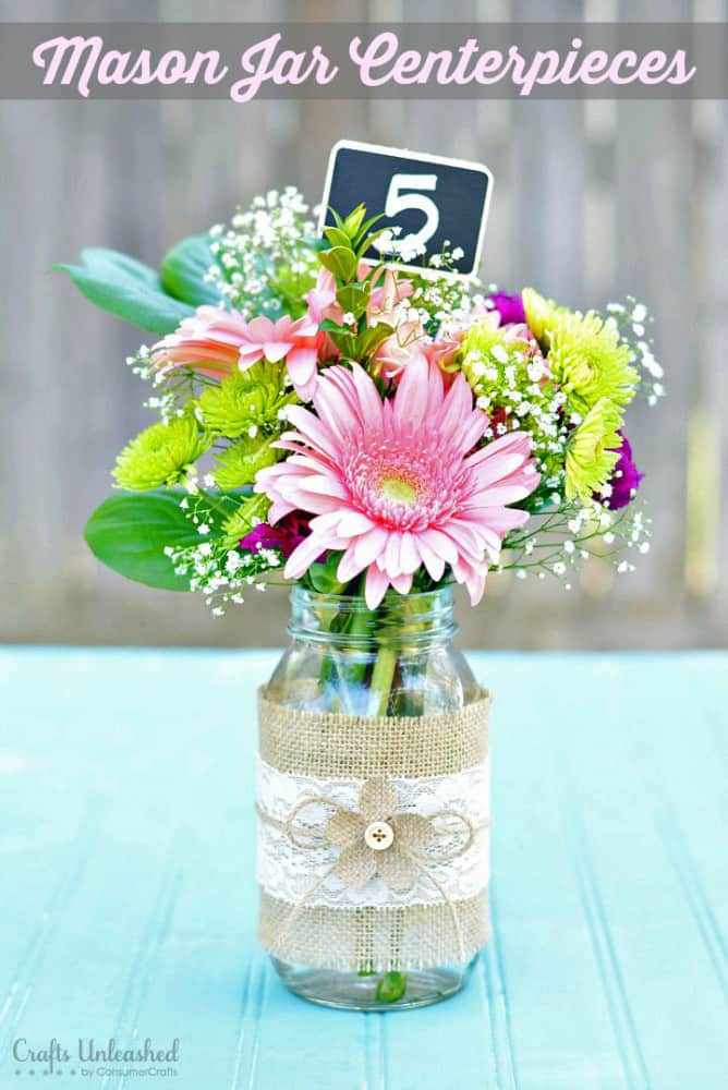 Bouquet de jute, dentelle et pot Mason