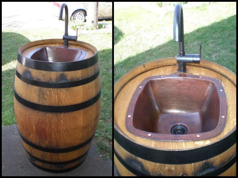 Évier extérieur bricolage baril de vin