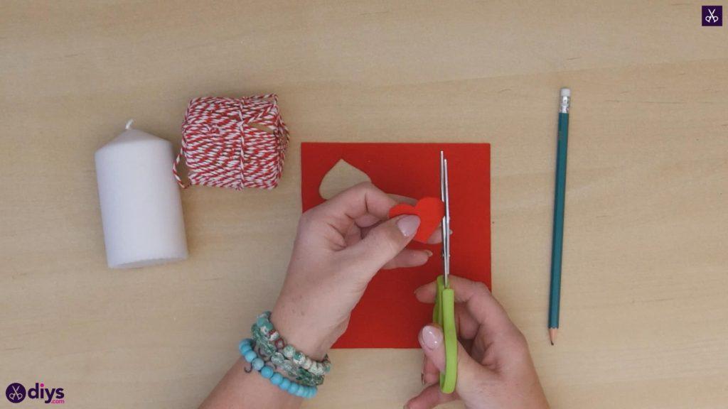 Bougie coeur de papier rouge bricolage valentine