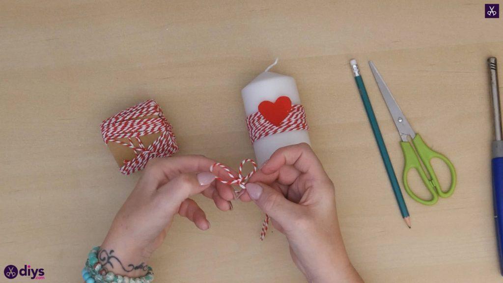 Bougie diy valentine papier rouge étape 5