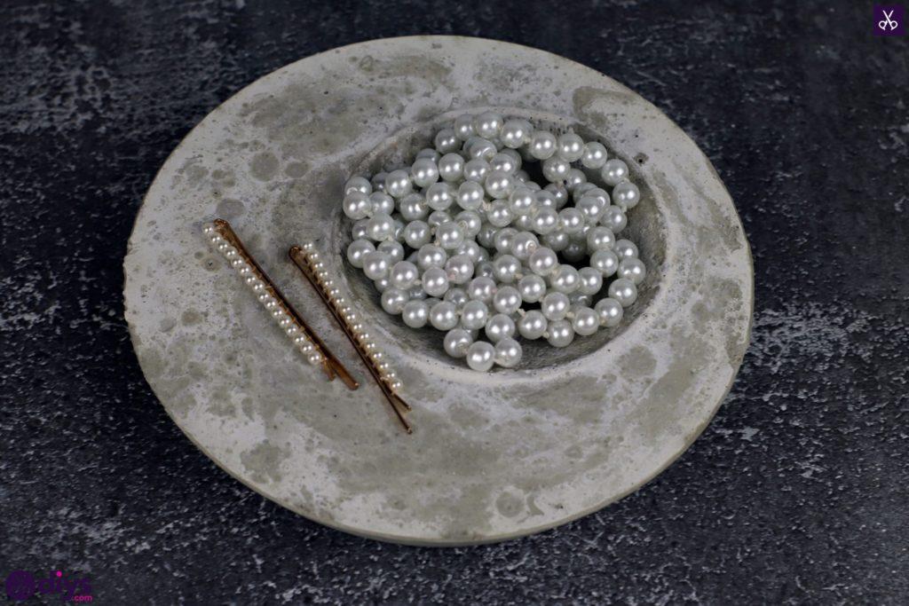 Porte-bijoux en béton bricolage plat déplauy