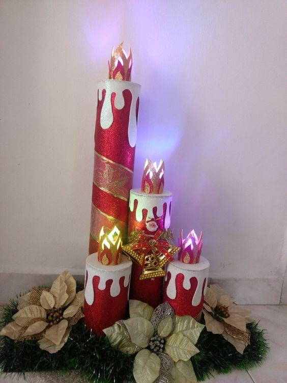 comment faire des bougies de Noël avec des tubes en carton et du mousse