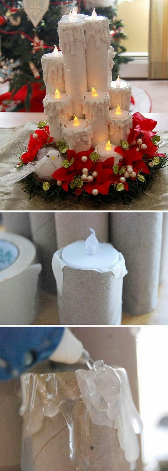 Centres de table de Noël avec des bougies mousseuses