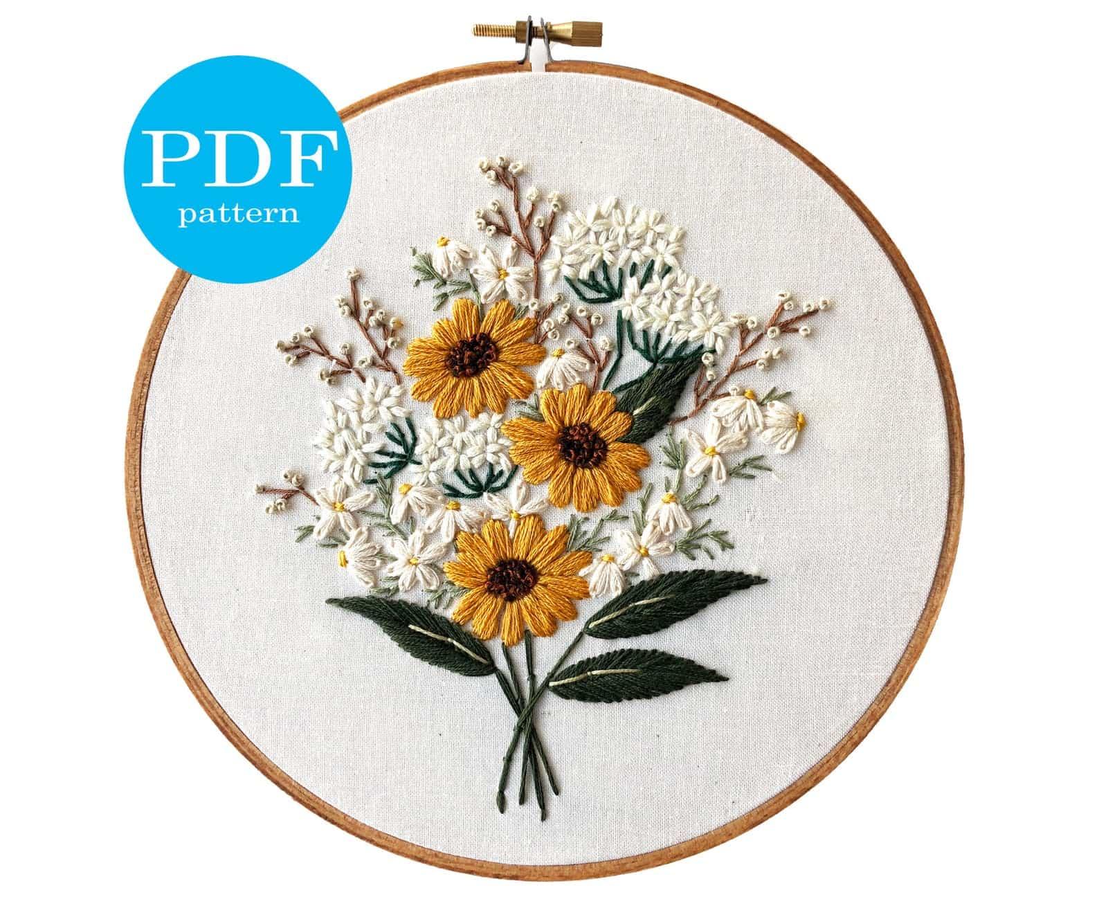 Motif de broderie bouquet de fleurs sauvages