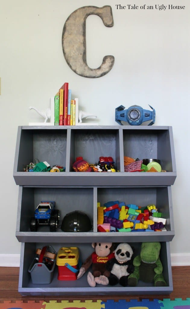 Angled toy cubby shelf