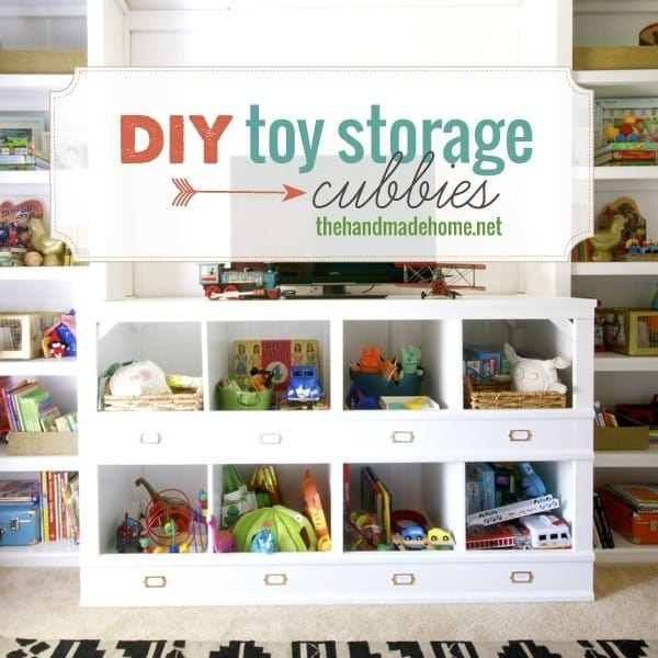 Custom but simple wooden board and moulding toy cubbies