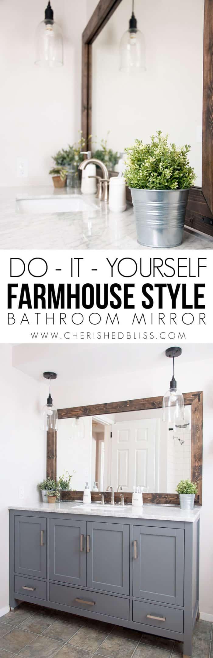Grand miroir de salle de bain de style ferme bricolage