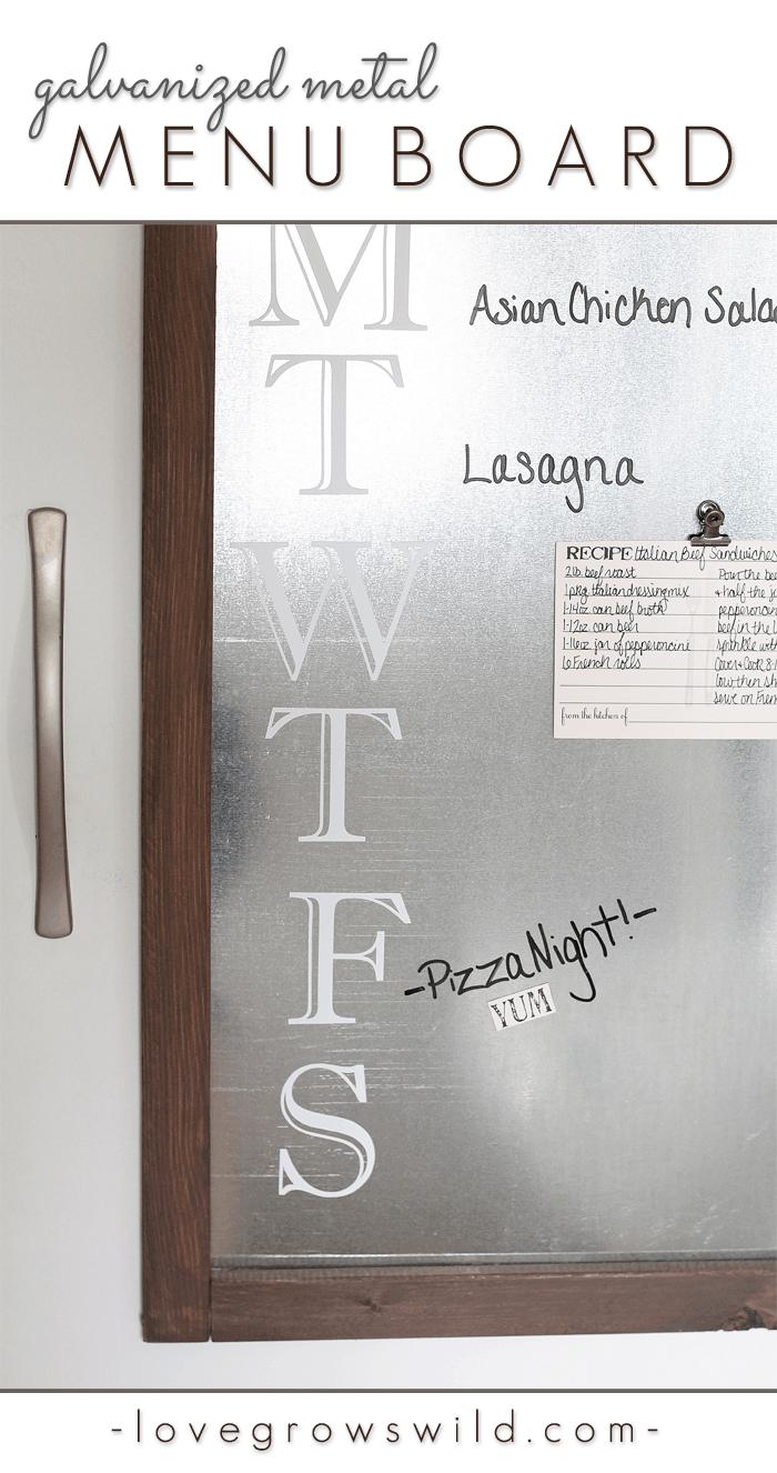 Tableau de menu avec cadre en métal galvanisé