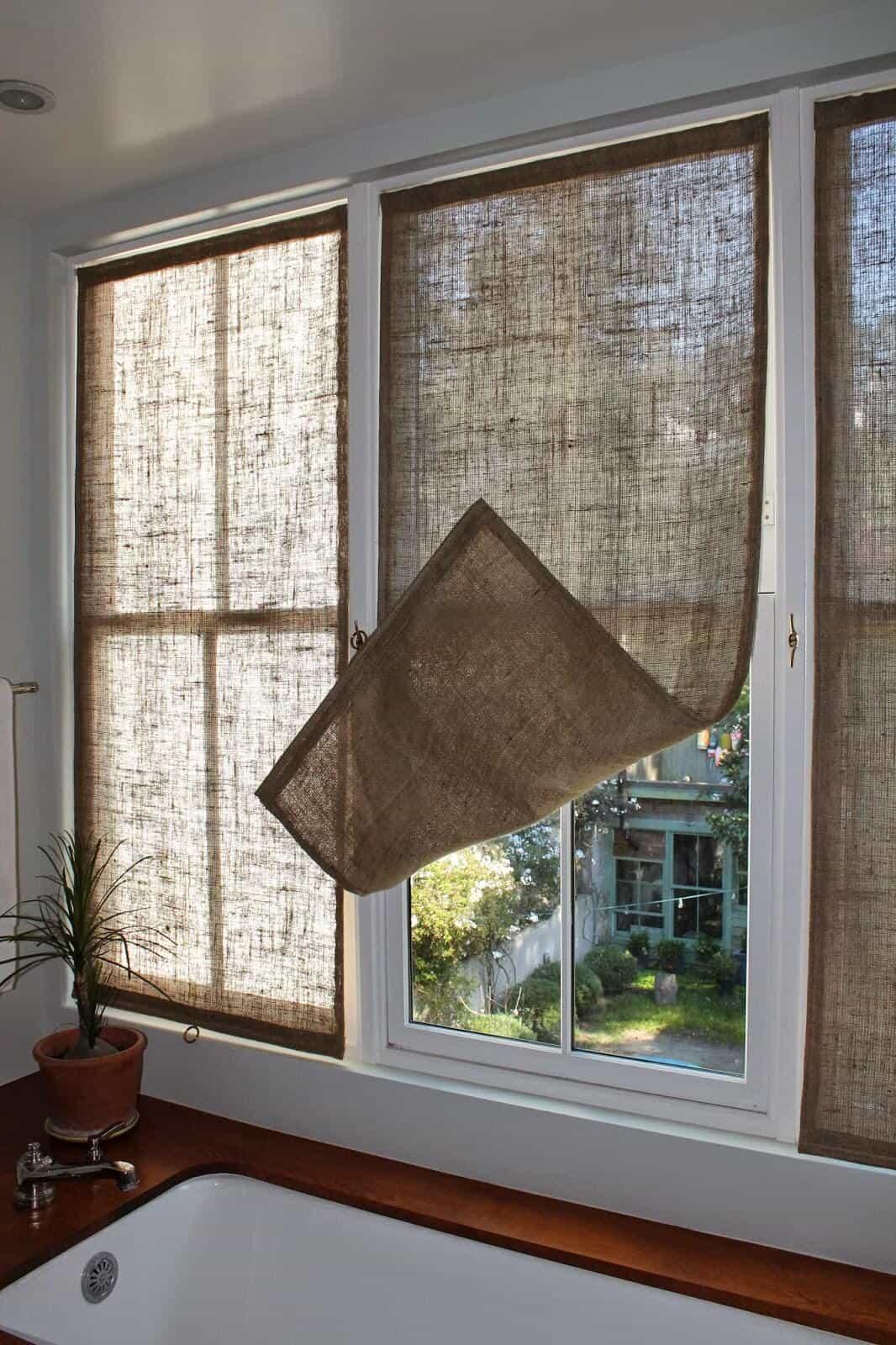 Rideaux en toile de jute faciles avec crochets latéraux