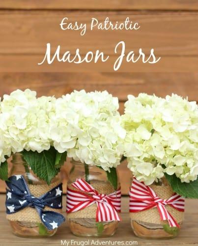 Vase en jute et ruban Mason du 4 juillet