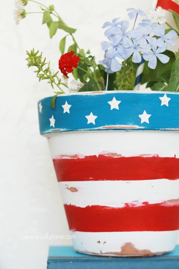 Pot de fleur patriotique peint