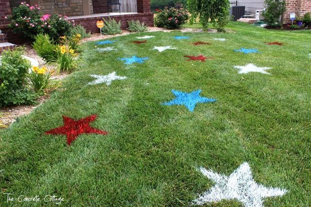 Étoiles de pelouse peintes le 4 juillet